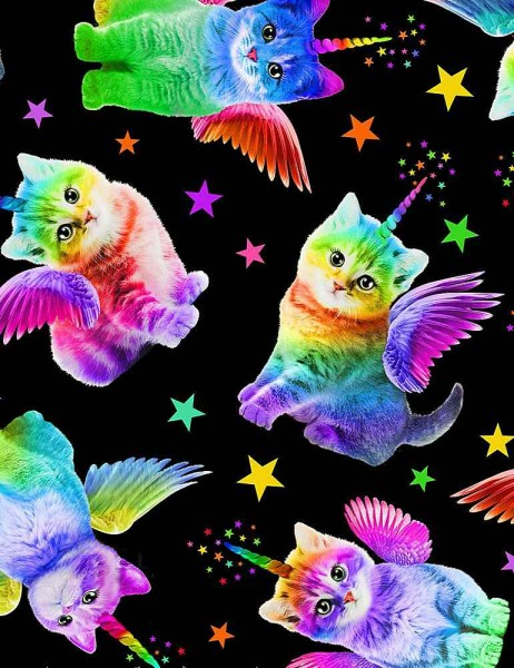 Katzen Stoff Rainbow Unicorn Cats