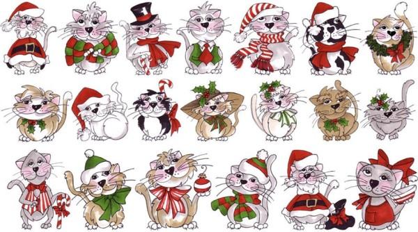 Katzen Stoff Panel Kitties in a Row Christmas Cats