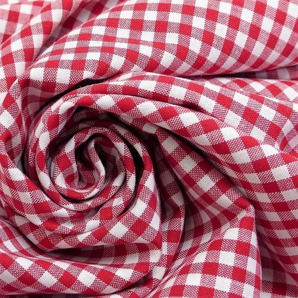 Baumwollstoff Karo Rot Weiß