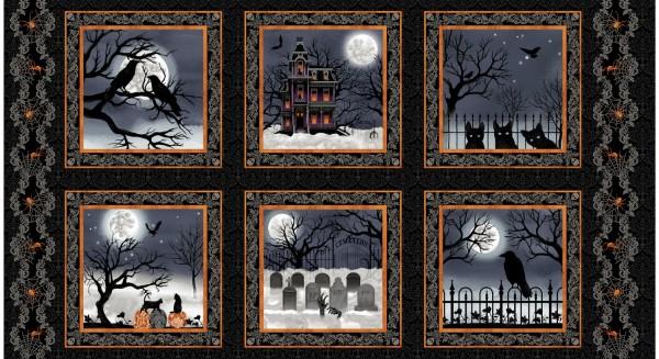Halloween Stoff Panel Black Spooky Night