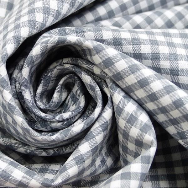 Baumwollstoff Vichy Karo Grau Weiß