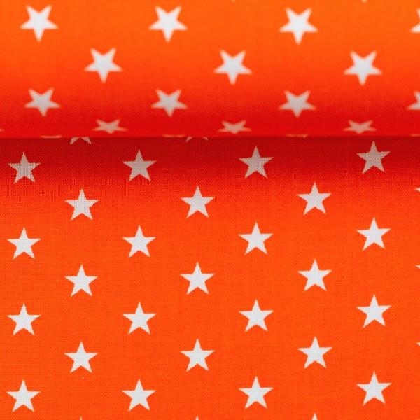 Baumwollstoff Sterne Orange Weiß