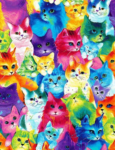Katzen Stoff Painted Bright Cats