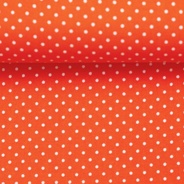 Baumwollstoff Punkte Orange Weiß