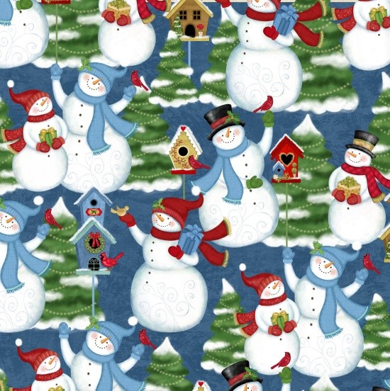 Winter Joy Snowman Blue Patchworkstoff
