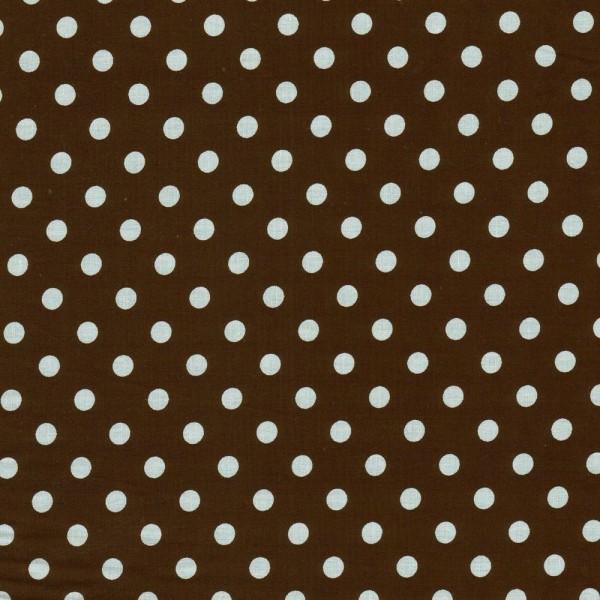 Baumwollstoff Dots 7mm Dunkelbraun Weiß