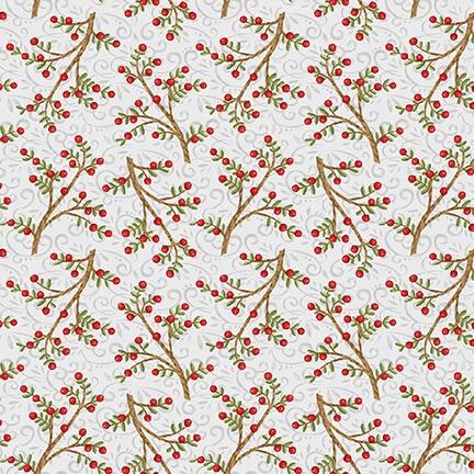 Beeren Zweige Weihnachtsstoff Snow Place Berry Branches