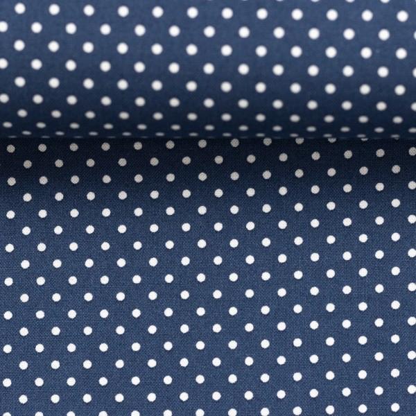 Baumwollstoff Punkte Jeans Blau Weiß