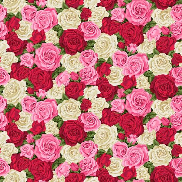 Blumen Stoff Summer Garden Rose Bouquet