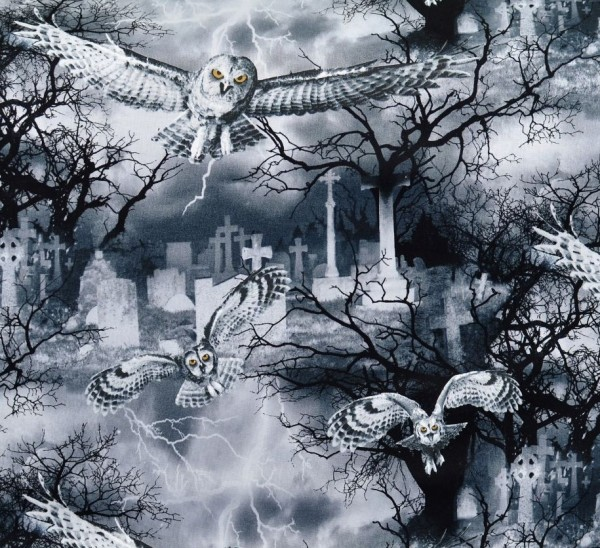 Eulen Stoff Night Owls Halloween