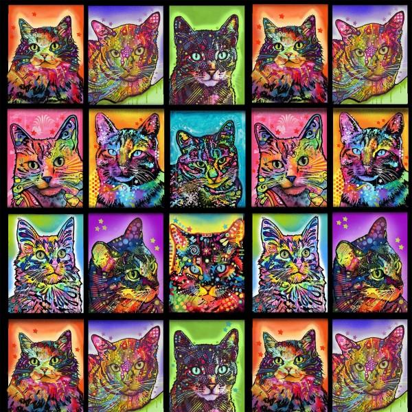 Katzen Stoff Crazy for Cats Kitty Warhol