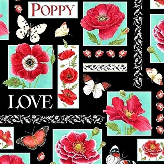 Mohn Blumen Stoff Poppy Perfection Patchwork