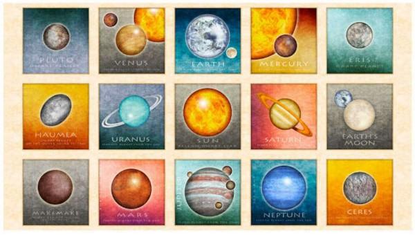 Planeten Stoff Panel Intergalactic Patches