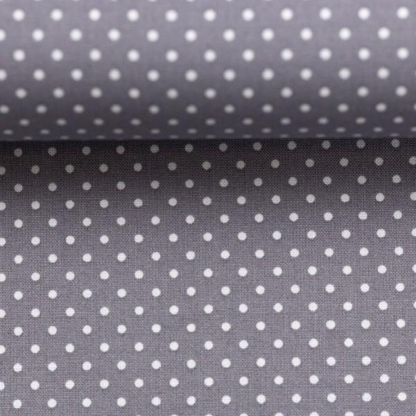 Baumwollstoff Punkte Grau Weiß