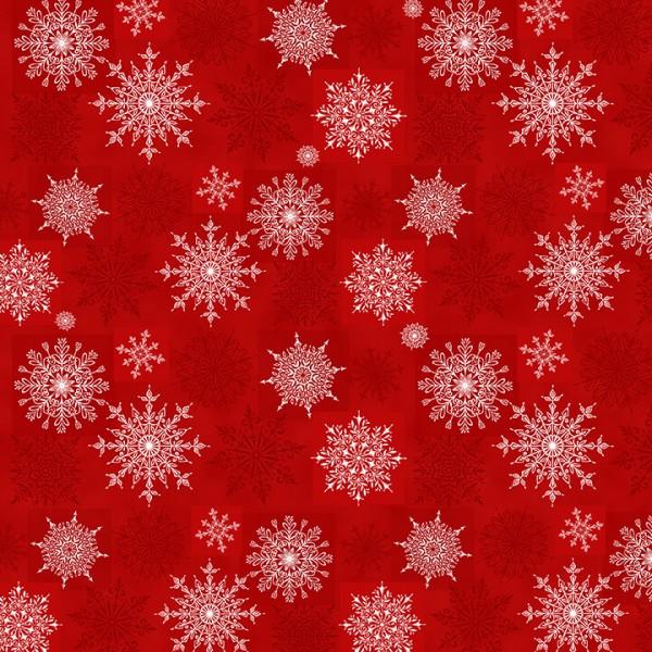 Weihnachtsstoff Schneeflocken Rot Holiday Lane Snowflakes Red