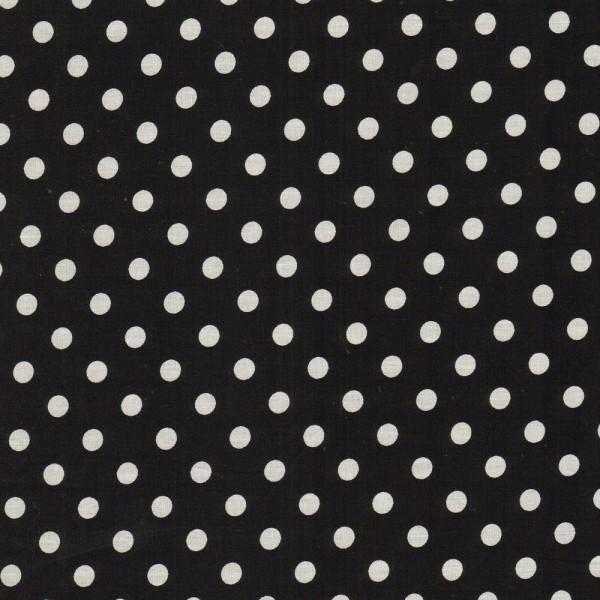 Baumwollstoff Dots 7mm Schwarz Weiß