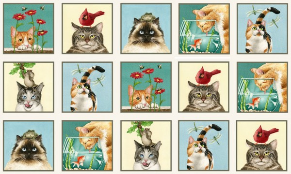 Katzen Stoff Panel Curious Cats