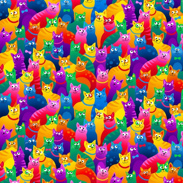 Katzen Stoff Rainbow Cats