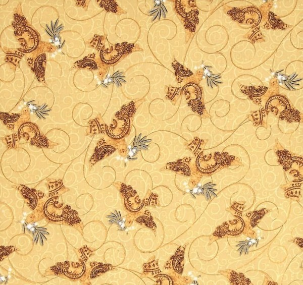 Golden Holiday Doves Tauben Beige Stoff Weihnachten