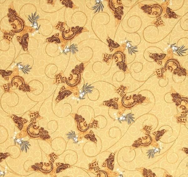 Tauben Stoff Beige Golden Holiday Doves Weihnachten