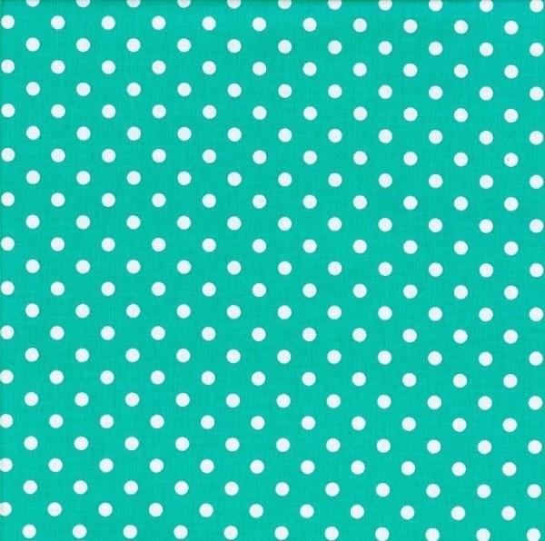 Baumwollstoff Dots 7mm Mint Weiß