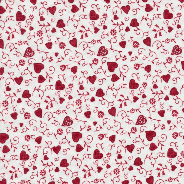 Herzen Stoff Rot Quilters Basic Memories 100