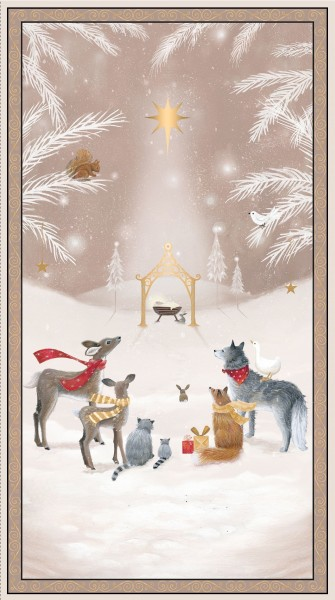 Woodland Dream Panel Beige Stoff Tiere Weihnachten