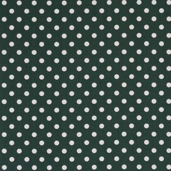 Baumwollstoff Dots 7mm Dunkelgrün Weiß