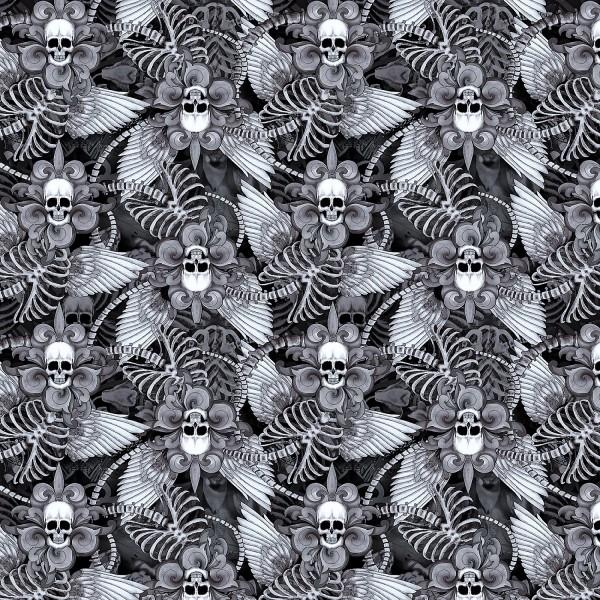 Totenkopf Stoff Black Skull Fleur De Lis With Wings