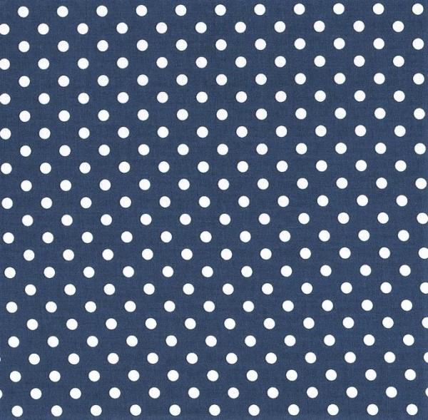 Baumwollstoff Dots 7mm Jeans Blau Weiß