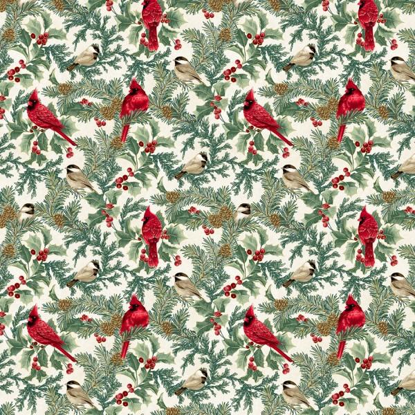 Kardinal Vögel Stoff Natural Cardinal Metallic