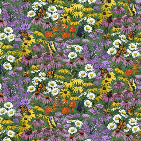Blumen Stoff Butterfly Meadow Flower Field Multi