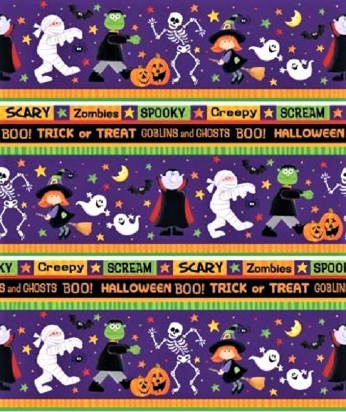 Halloween Patchworkstoff KIndermotive Geister Hexen Magier Bordüre