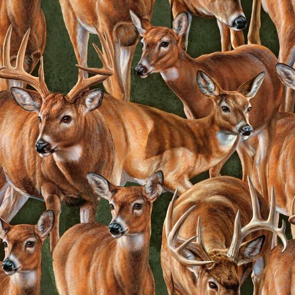 Rehe Stoff Wild Wings Packed Deer