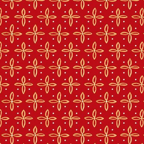 Weihnachtsstoff Woodland Dream Star Foulard Rot