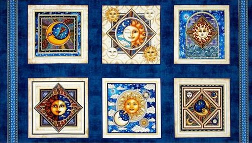 Celestial Sol Panel Patchworkstoffe Stoffe
