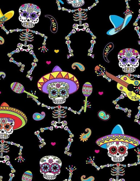 Totenkopf Stoff Dancing Day of the Dead