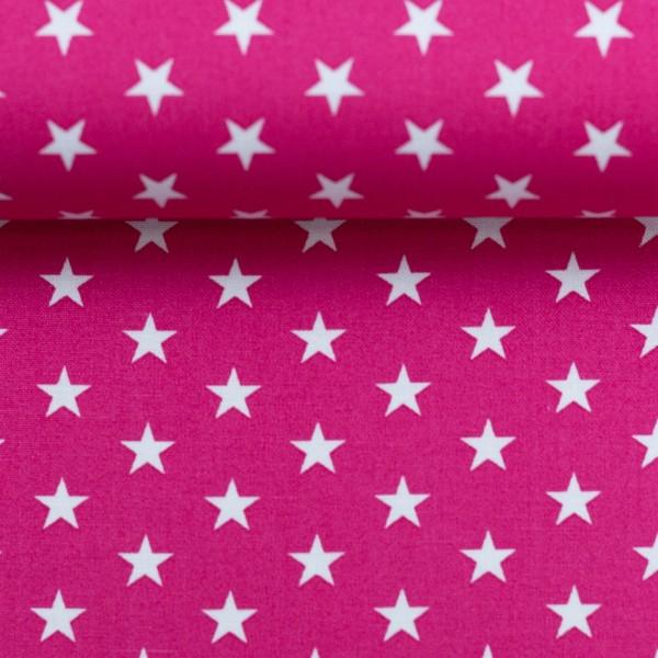 Baumwollstoff Sterne Pink Weiß