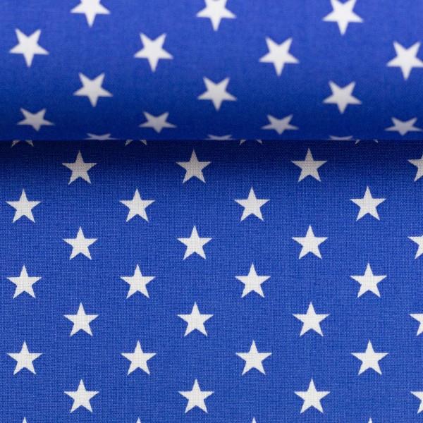 Baumwollstoff Sterne Royal Blau Weiß