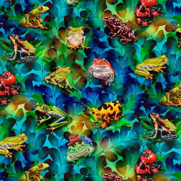 Frösche Stoff Cerulean Frog Jewels Digitaldruck