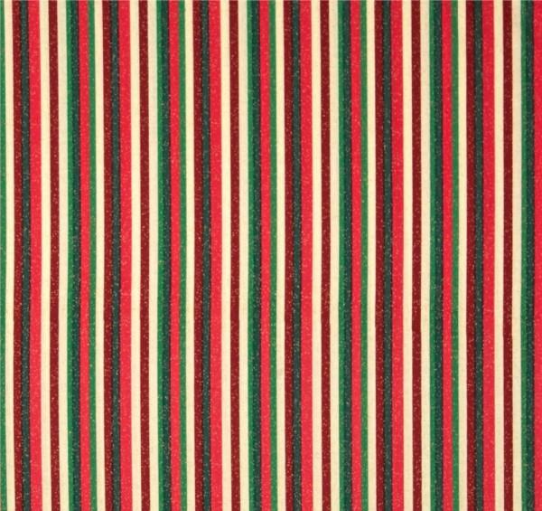 Christmas Morning Streifen Creme Rot Grün Stoff