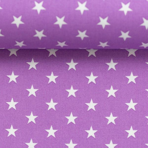 Baumwollstoff Sterne Flieder Weiß