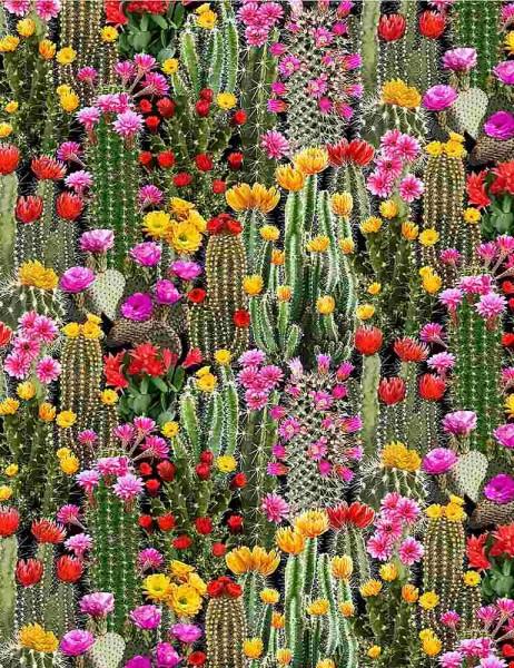 Kakteen Blüten Stoff Cacti