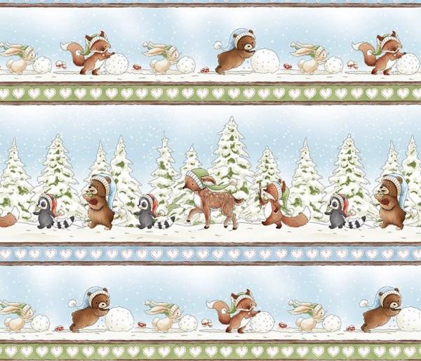 Winter Tiere Kinder Stoff Snow Day Bunnies