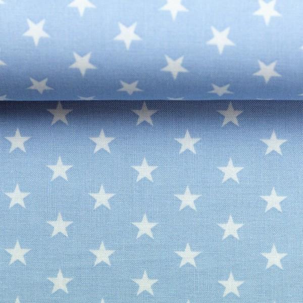 Baumwollstoff Sterne Baby Blau Weiß