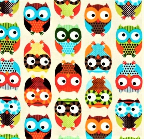 Eulen Stoff Owls Cream