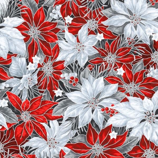 Christsterne Stoff Rot Weiß Grau Noel