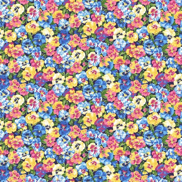 Stiefmütterchen Stoff Summer Garden Pansies Blue