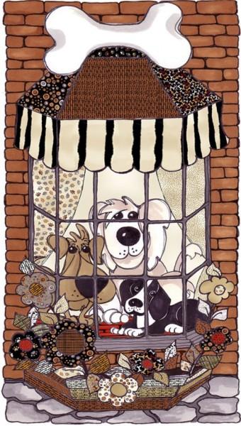 Hunde Stoff Panel Doggies in the Window