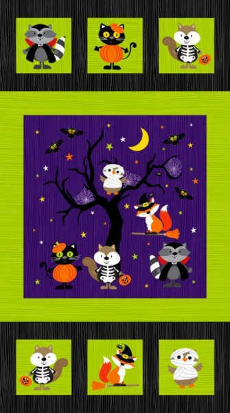 Halloween Kinderstoff Panel Woodland Haunt Kindermotive